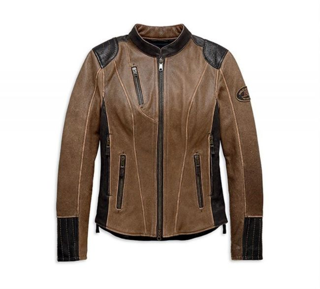 Front view of womens gallun leather jacket with triple vent system