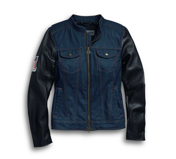 Front view of womens arterial abrasion resistant slim fit denim riding jacket