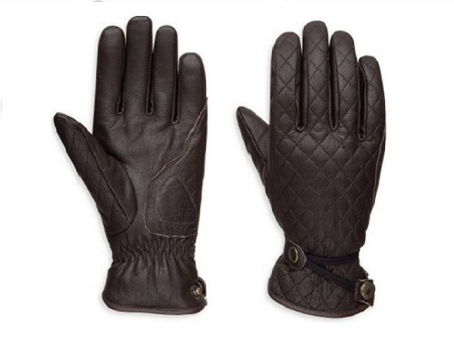 Front view of womens messenger leather gloves