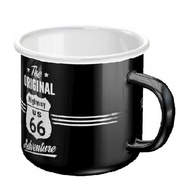 Front view of highway 66 enamel mug