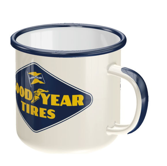 Front view of goodyear logo enamel mug