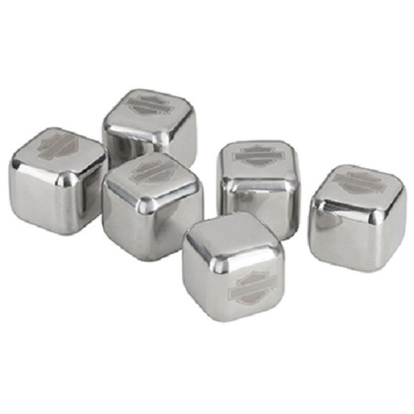 Front view of stainless steel ice cube set