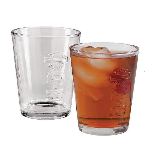 Front view of logo embossed tumbler glass set