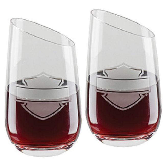 Front view of silhouette bar shield stemless wine glass set