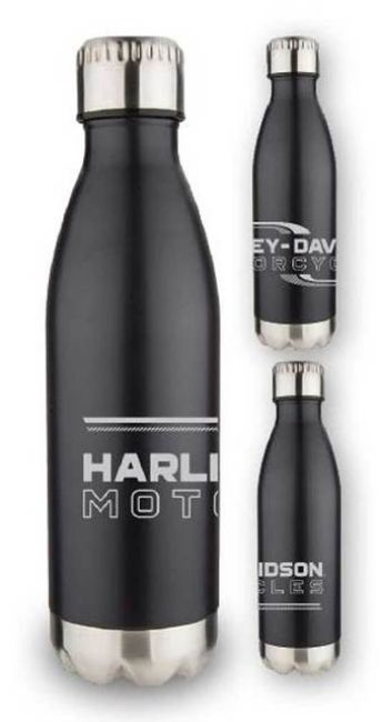 Front view of lineation stainless steel travel bottle