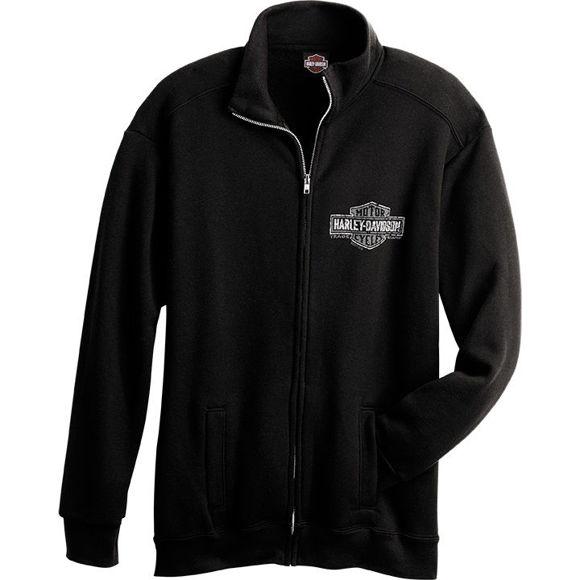 Front view of mens trademark dealer zip sweatshirt