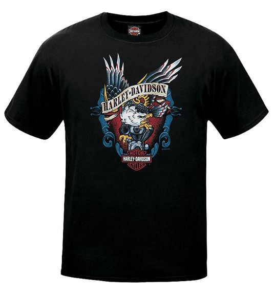 Front view of mens west coast old school eagle dealer t shirt