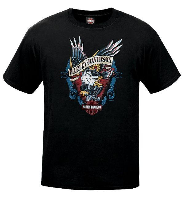 Front view of mens west coast old school eagle dealer t shirt