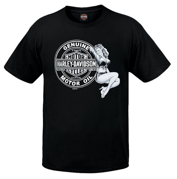 Front view of mens west coast hot oil dealer t shirt