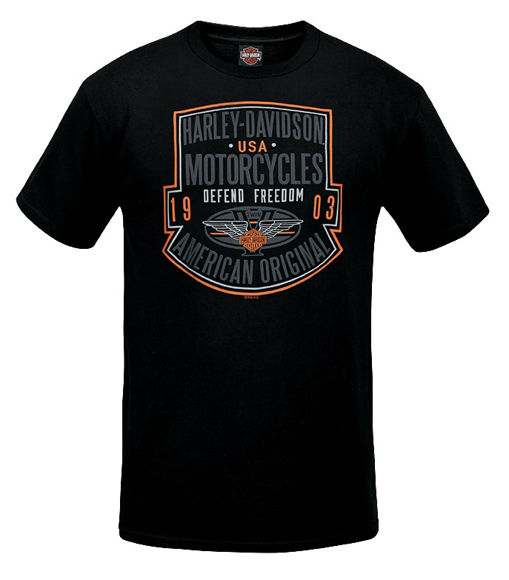 Front view of mens west coast defend dealer tee
