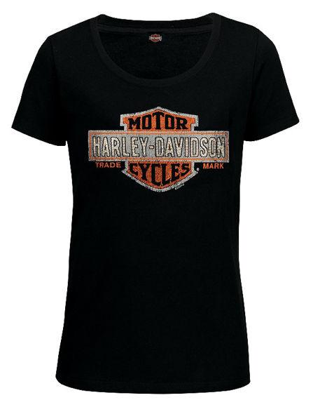 Front view of womens orange multiply tee dealer t shirt