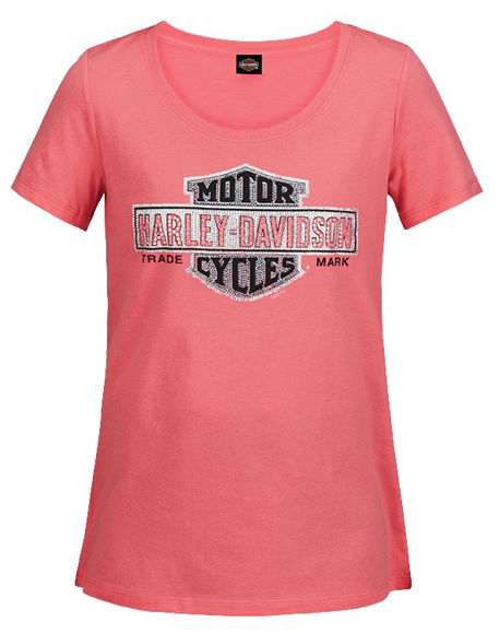 Front view of womens pink multiply tee dealer t shirt