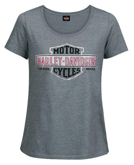 Front view of womens grey multiply tee dealer t shirt