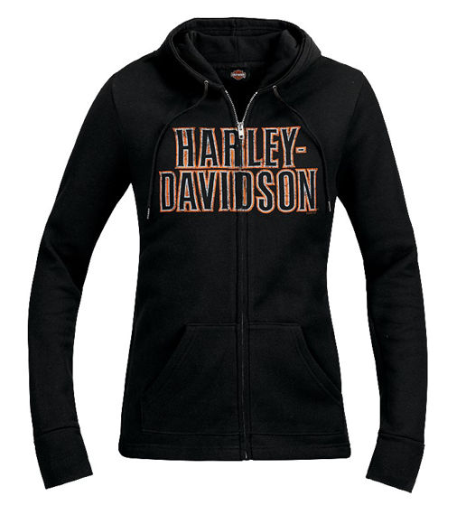 Front view of womens stack faded dealer hoodie