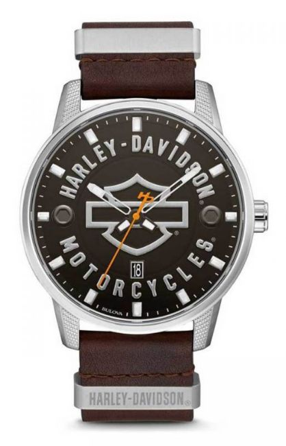Front view of mens bulova bar shield brown leather stainless steel watch