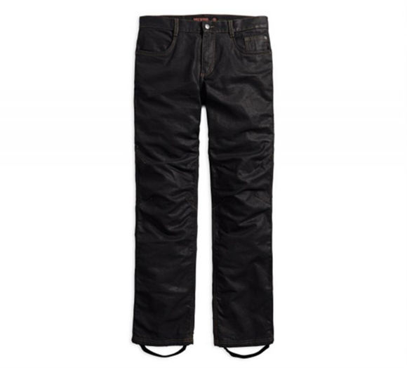 Front view of mens waxed denim performance riding jean