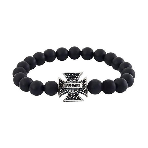 Bracelet mens silver lava stone bracelet