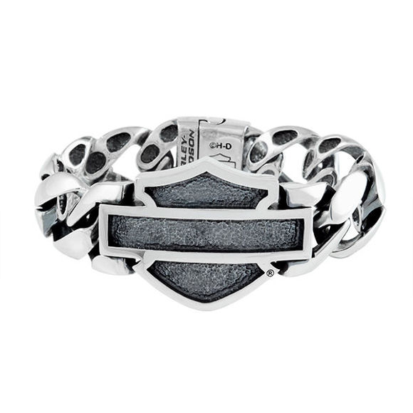 Bracelet mens silver bar and shield bracelet