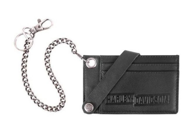 Wallet mens drag race credit card case with chain
