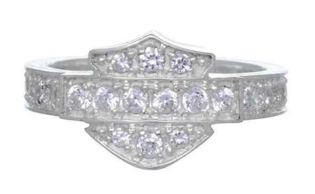 Front view of womens silver bling bar shield ring