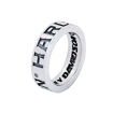 Band mens silver ring gothic lettering