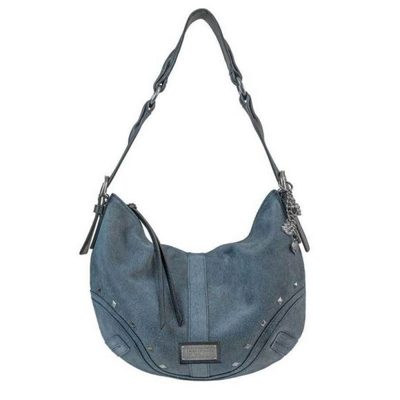 Front view of womens stonewashed leather bag