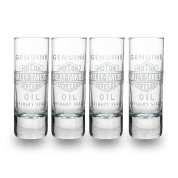 Front view of genuine oil shot glasses