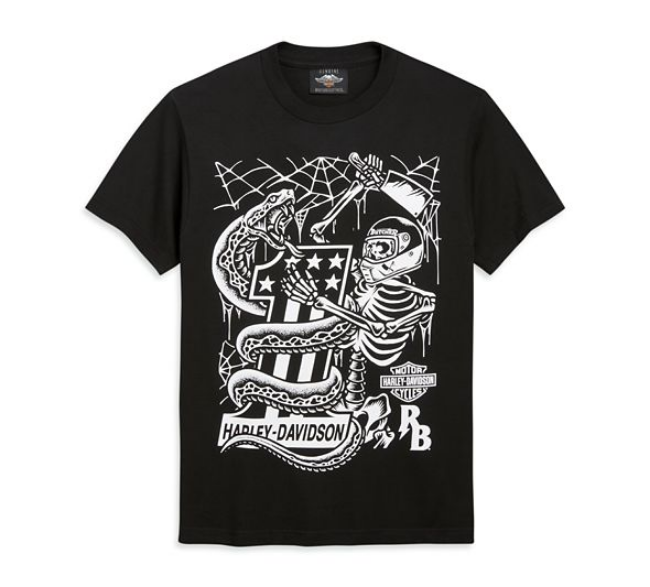 Front view of mens hd x rusty butcher snake short sleeve tee