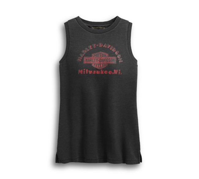 Front view of womens classic graphic muscle tee