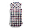 Back view of womens plaid sleeveless shirt