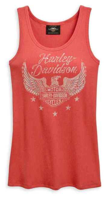 Front view of womens flag fashion distressed graphic tank top