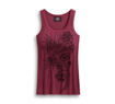 Front view of womens embellished roses tank