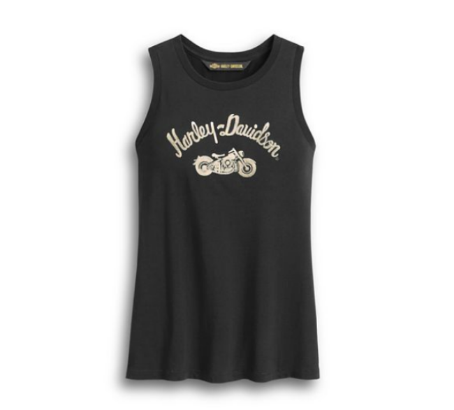 Front view of womens embroidered script tank