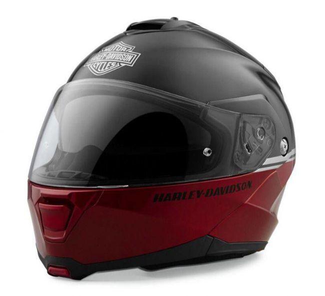 Front view of capstone modular flip helmet red