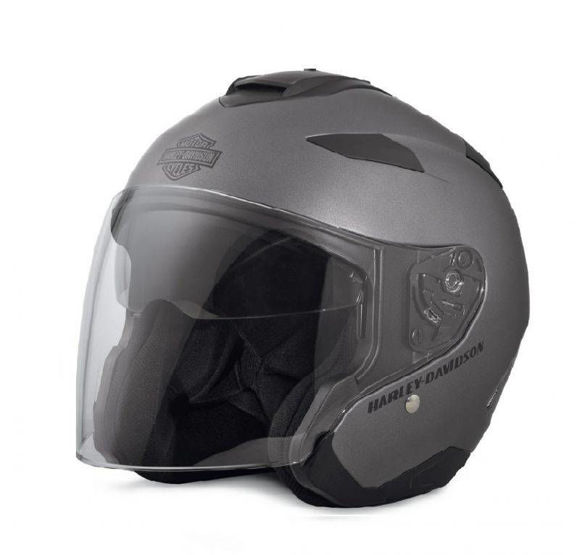 Front view of maywood interchangable sun shield 34 helmet silver