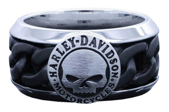 mens black steel chain willie g skull ring