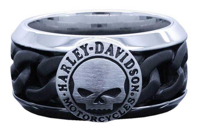 mens black steel chain willie g skull ring