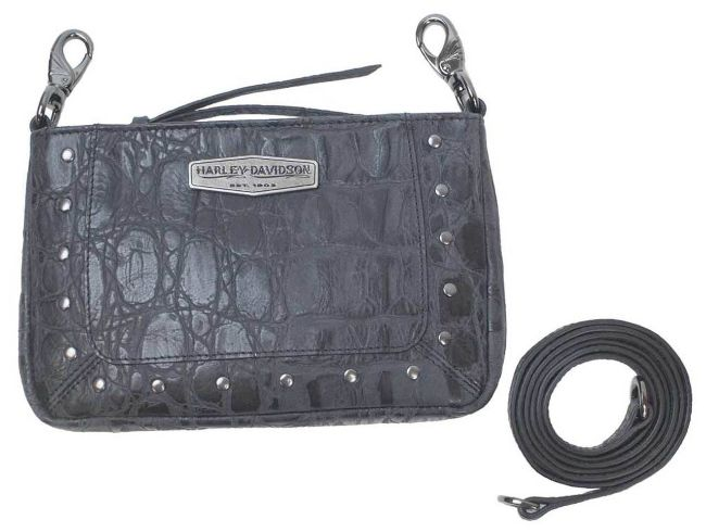 Front view of womens croco leather hip bag