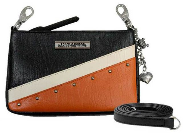 Front view of womens orange colorblock leather diagonal hip bag