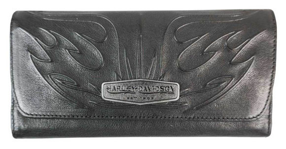 Front view of womens flame embossed leather bi fold clutch wallet