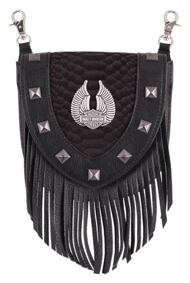 Picture of Women's Fringe Python Leather Pouch