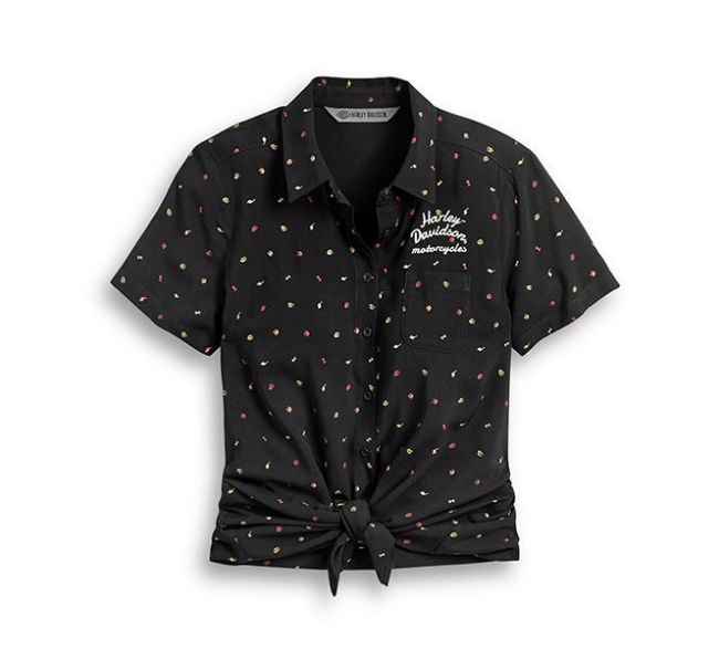 Picture of Women's Allover Print Tie-Front Shirt