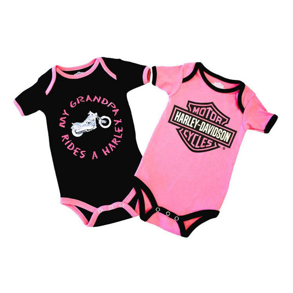 Picture of Baby Girls' Grandpa Rides A Harley Creeper Set