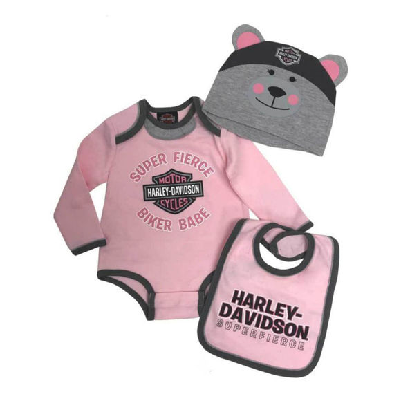 Picture of Baby Girl's 3D Bear Creeper Set with Hat & Bib