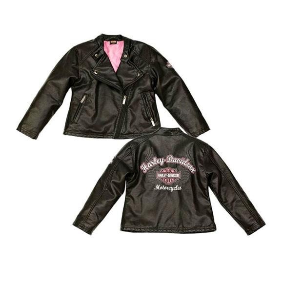 Picture of Little Girls' Winged Bar & Shield Pleather Biker Jacket