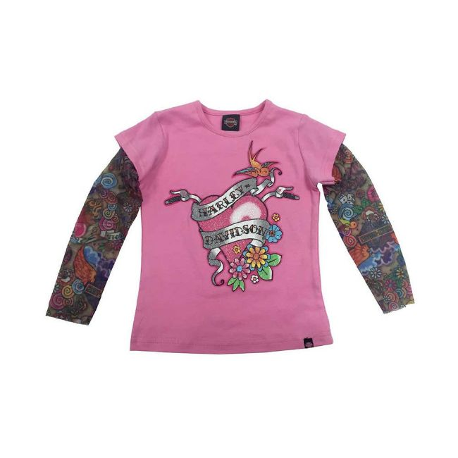 Picture of Little Girls' Glittery Tee with Mesh Tattoo Sleeves