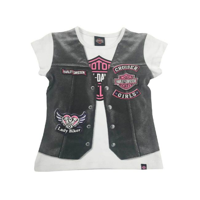 Picture of Little Girls' Printed Motorcycle Vest Short Sleeve Tee