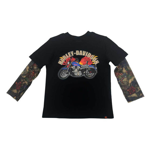 Picture of Little Boys' Motorcycle Tee with Mesh Tattoo Sleeves