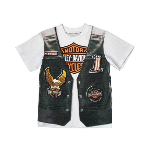 Picture of Little Boys' Printed-On Motorcycle Vest Short Sleeve Tee