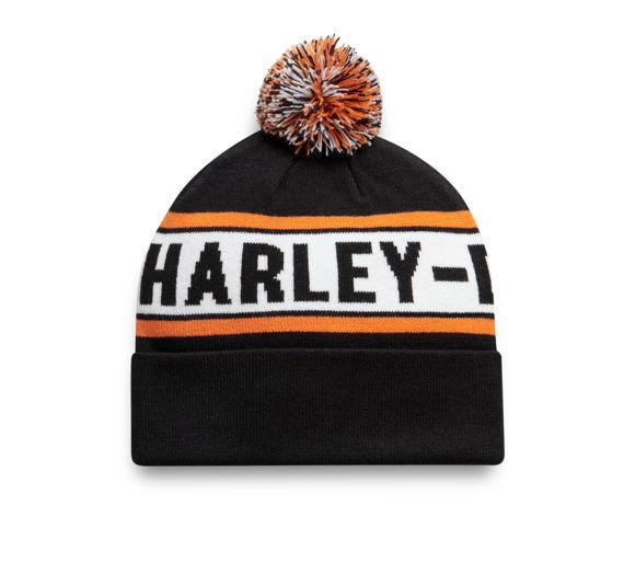Picture of Knit Pom Hat - Black & Orange